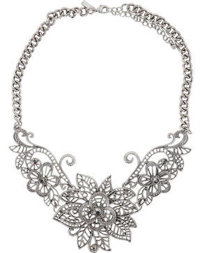 Shyanne® Women's Floral Necklace, Silver, hi-res
