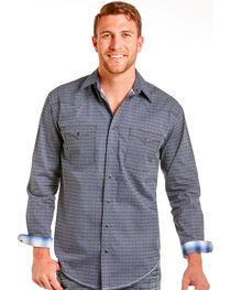 Rough Stock by Panhandle Men's Navy Geo Print Long Sleeve Shirt, , hi-res