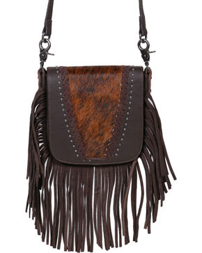 Shyanne® Women's Fur Fringe Crossbody Bag, Black, hi-res