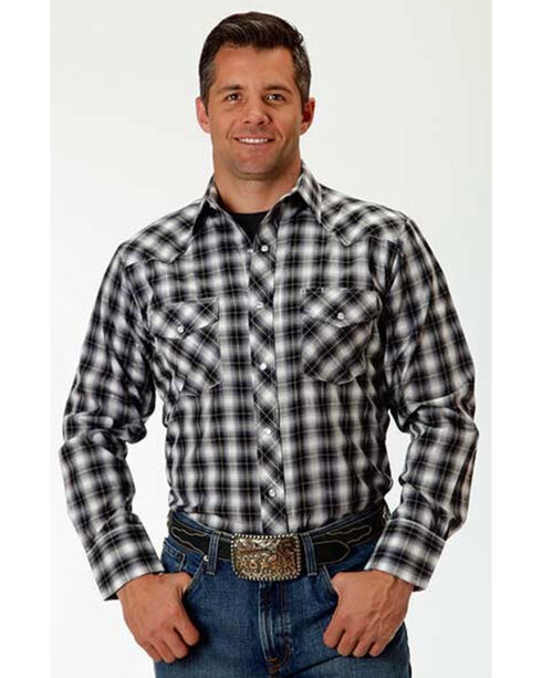 Roper Men's Diamond Plaid Long Sleeve Shirt, Grey, hi-res
