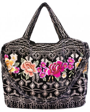 Johnny Was Women's Flores Velvet Tote Bag , Black, hi-res