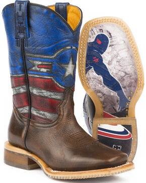 Tin Haul Boys' Justice Cowboy Boots - Square Toe - Sz 2-3, Brown, hi-res