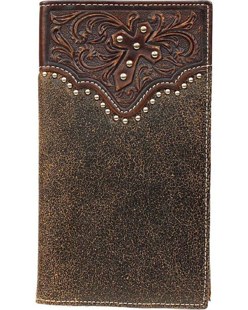 Ariat Men's Rodeo Bi-Fold Cross and Stud Leather Wallet, Brown, hi-res