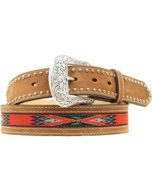 Nocona Top Hand Woven Aztec Inlay Belt, Med Brown, hi-res