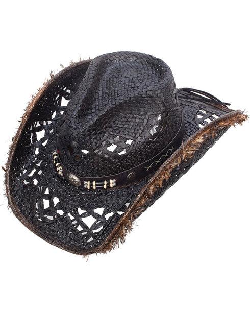 Western Express Women's Lancaster Black Straw Hat, Black, hi-res