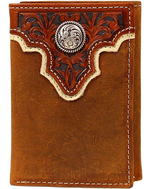 Ariat Tooled Overlay & Concho Tri-fold Wallet, Light Brown, hi-res
