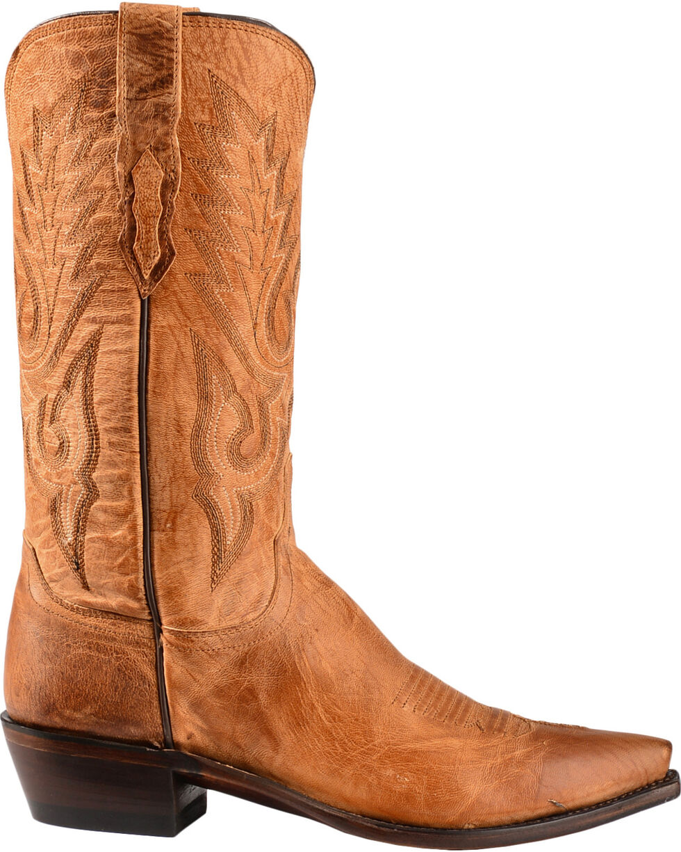 Lucchese Men's Lewis Snip Toe Mandras Goat Western Boots, Tan, hi-res