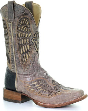 Corral Men's Cowhide Square Toe Wing and Cross Western Boots, Brown, hi-res