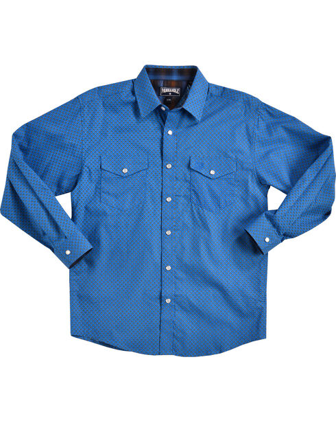 Panhandle Boys' Blue Print Long Sleeve Shirt , Blue, hi-res