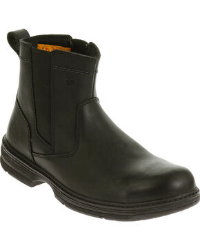 Caterpillar Men's Black Inherit Pull On Work Boots - Steel Toe , Black, hi-res