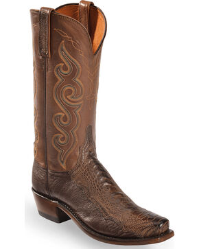 Lucchese Women's Chocolate Yvette Ostrich Leg Western Boots - Square Toe , Chocolate, hi-res