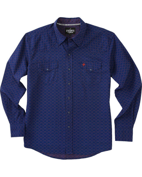Garth Brooks Sevens by Cinch Men's Navy Pearl Snap Long Sleeve Shirt , Navy, hi-res