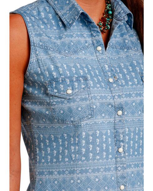 Panahandle Slim Women's Indigo Sleeveless Printed Snap Shirt , Indigo, hi-res