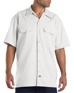 Dickies Men's Short Sleeve Work Shirt, White, hi-res