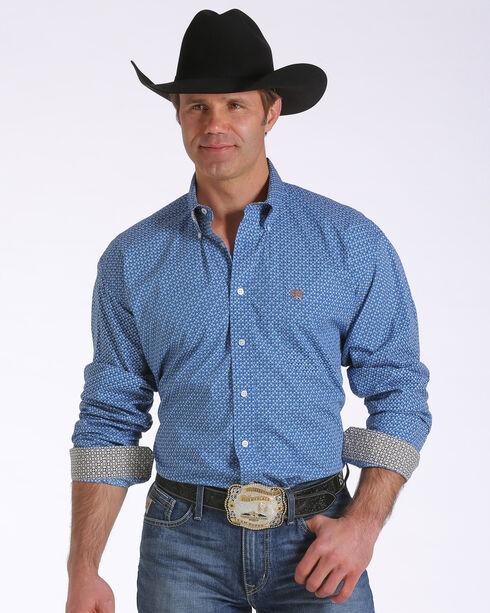 Cinch Men's Geo Printed Long Sleeve Shirt, Blue, hi-res