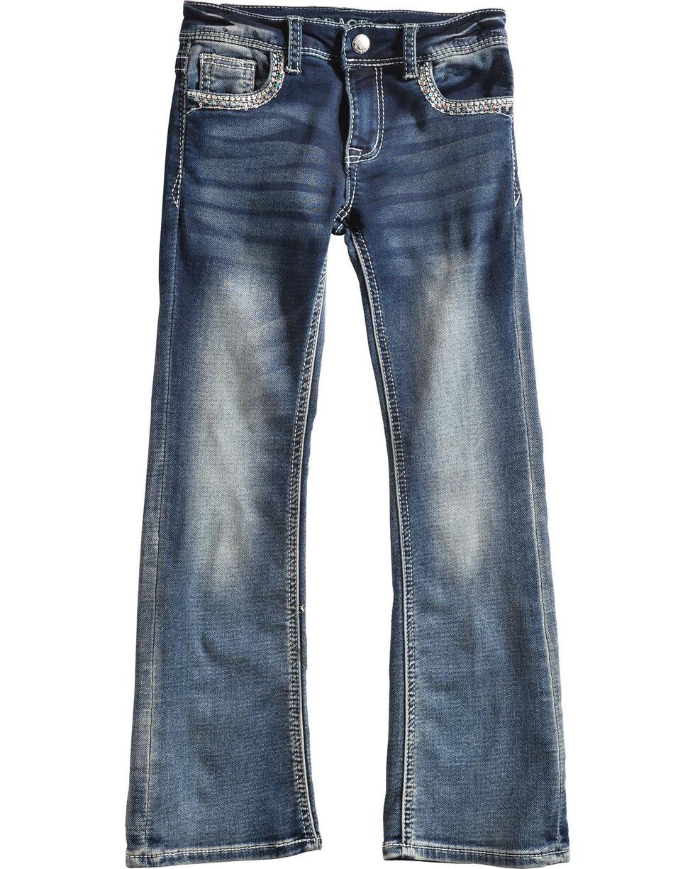 Grace in LA Girls' (4-6X) Blue Feather Headdress Jeans - Boot Cut , Blue, hi-res
