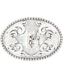 Nocona Floral Etched Praying Cowboy Belt Buckle, , hi-res
