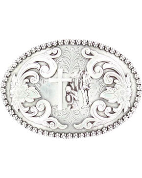 Nocona Floral Etched Praying Cowboy Belt Buckle, Silver, hi-res