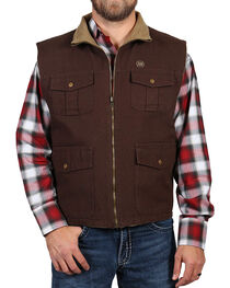 American Worker Men's Reversible Canvas Vest, Dark Brown, hi-res