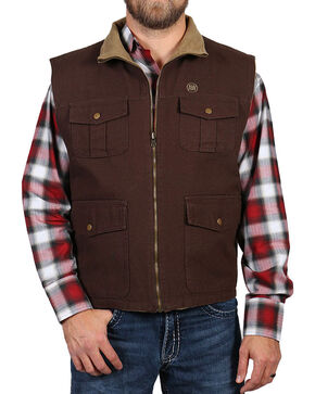American Worker Men's Reversible Canvas Vest, Dark Brown, hi-res