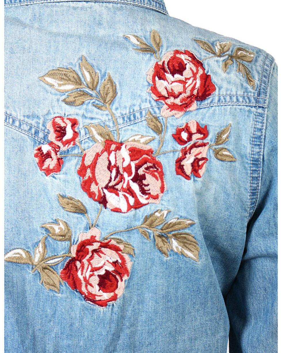 Shyanne®  Women's Rose Embroidered Denim Shirt, Blue, hi-res