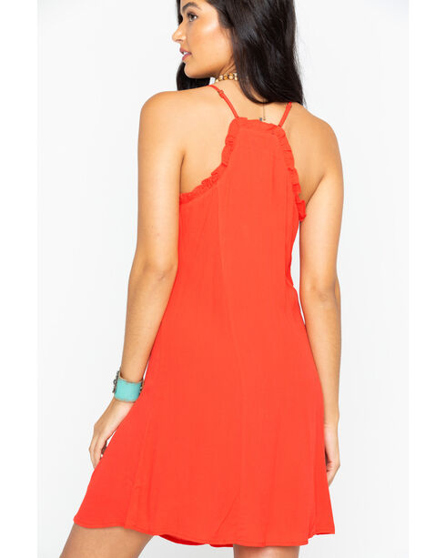 Miss Me Red Simple Front Button Dress, Red, hi-res