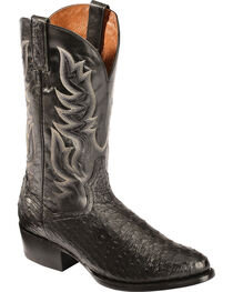 Dan Post Black Quilled Ostrich Cowboy Boots - Round Toe, , hi-res