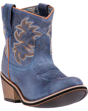 Laredo Women's Leather Sapphrye Western Booties, Navy, hi-res