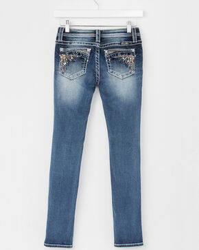 Miss Me Girls' (7-14) Faded Skinny Jeans , Indigo, hi-res