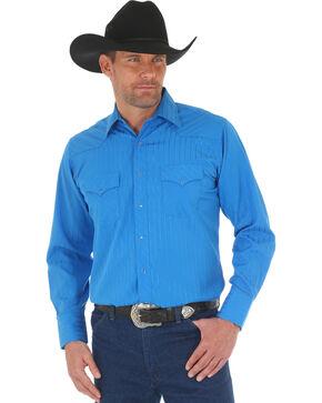 Wrangler Men's Blue Sport Western Long Sleeve Shirt , Blue, hi-res