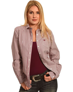 Cinch Women's Stripe Long Sleeve Shirt , Purple, hi-res