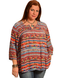 New Direction Sport Women's Hidden Placket Print Shirt - Plus Size, , hi-res