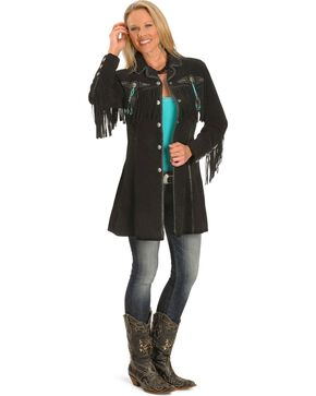 Scully Women's Boar Suede Fringe Coat, Black, hi-res