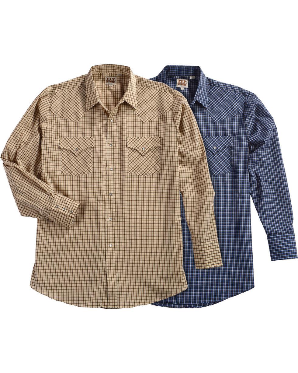 Ely Cattleman Men's Assorted Mini Check Long Sleeve Snap Shirt, Multi, hi-res