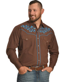 Ely Cattleman Men's Brown Scroll Embroidery Snap Shirt , , hi-res