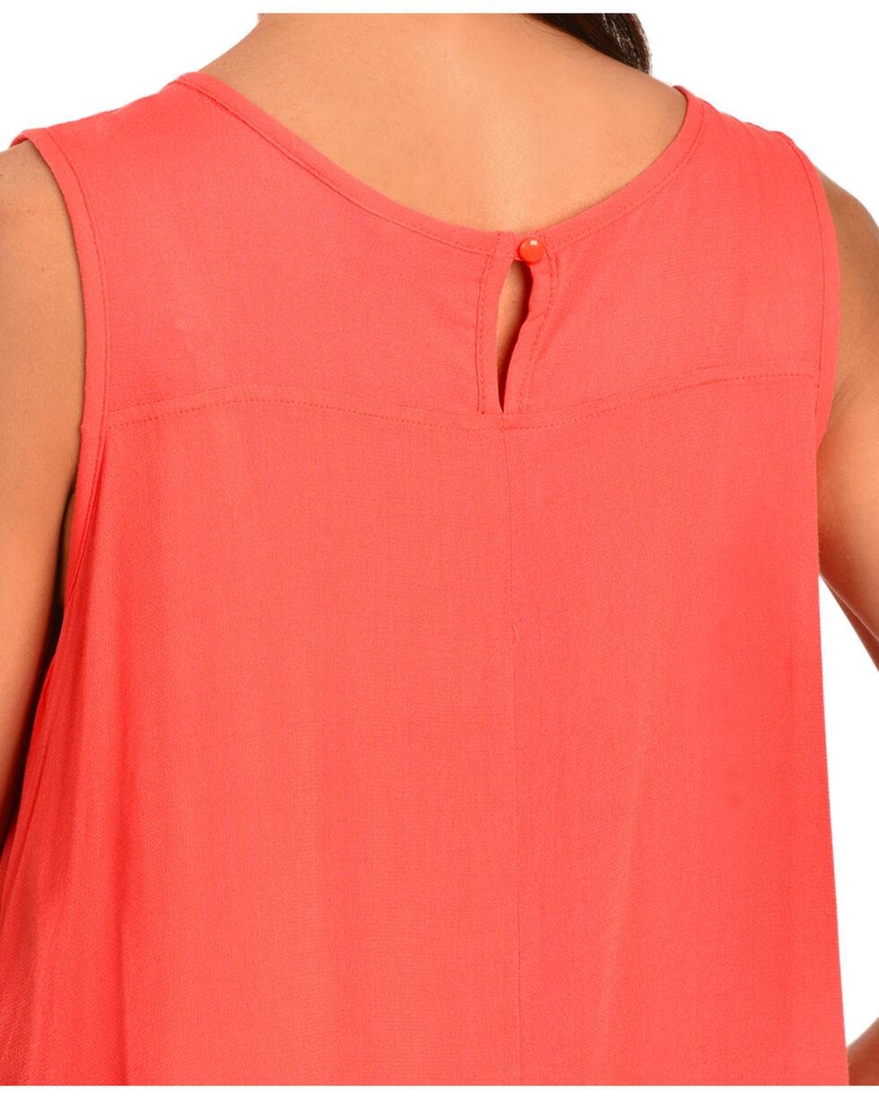 Wrangler Women's Sleeveless Lace Top, Coral, hi-res