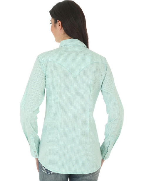 Wrangler Women's Pattern Long Sleeve Shirt, Turquoise, hi-res