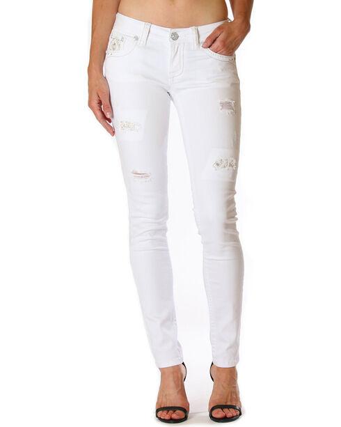 Grace in La Women's Destructed Jeans - Skinny , White, hi-res