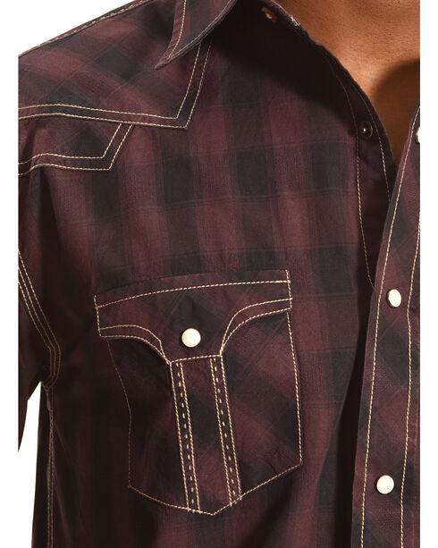 Crazy Cowboy Men's Dark Plaid Long Sleeve Shirt , Black, hi-res