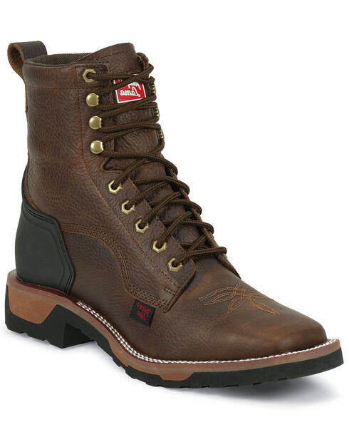 Tony Lama Men's Western TLX Lace Up Work Boots, Bark, hi-res
