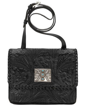 American West Black Grand Prairie Crossbody Flap Bag , Black, hi-res