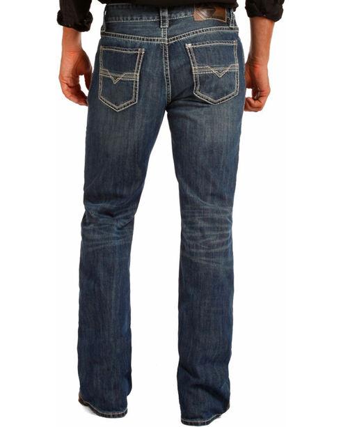 Rock & Roll Cowboy Men's Blue Bean Stitch Double Barrel Jeans - Boot Cut , Blue, hi-res