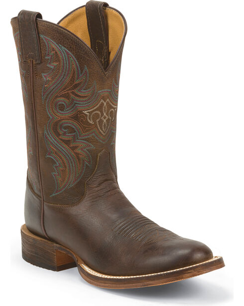 Justin Men's Bent Rail Western Boots, Chocolate, hi-res
