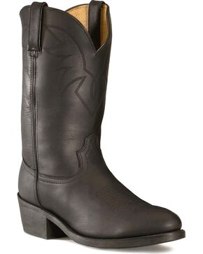 Durango Men's Oiled Leather Pull-On Western Boots - Round Toe, Black, hi-res