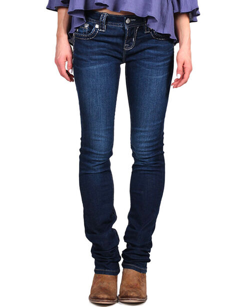Miss Me Women's Silver Lining Skinny Jeans, Blue, hi-res
