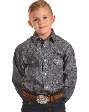 Rock & Roll Cowboy Boys' Paisley Print Saddle Stitch Long Sleeve Snap Shirt, Jade, hi-res