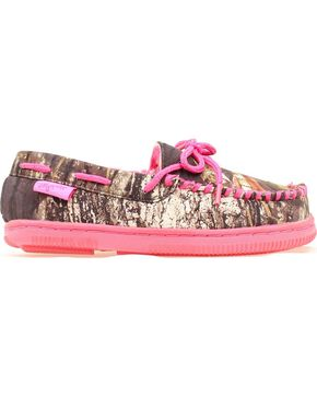 Blazin Roxx Youth Girls' Hot Pink & Camo Moccasins, Camouflage, hi-res