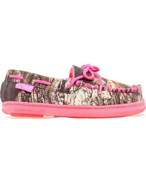 Blazin Roxx Youth Girls' Hot Pink & Camo Moccasins, Camouflage, hi-res