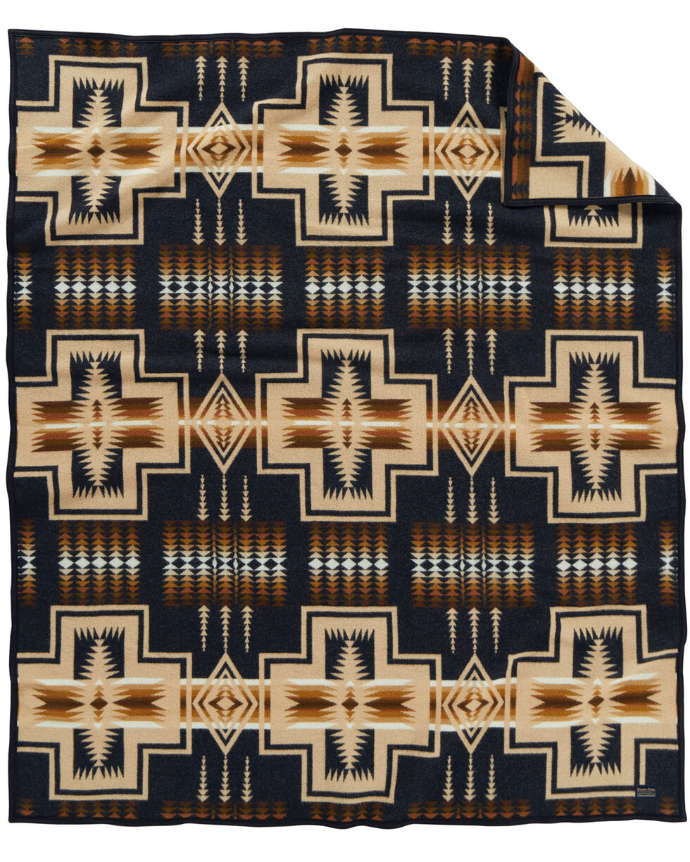 Pendleton Cross Throw Blanket, Navy, hi-res