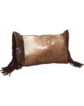 BB Ranch Cowhide Fringe Pillow, Brown, hi-res